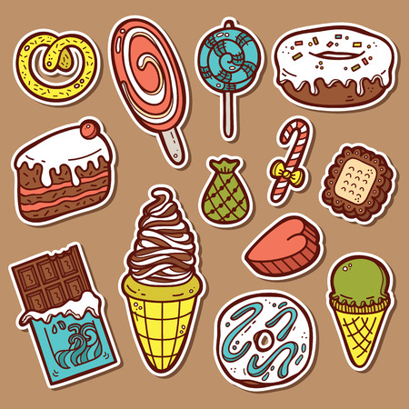 sugar candy: sweets stickers set. First part of vector doodle collection of hand drawn sweets  icons Illustration