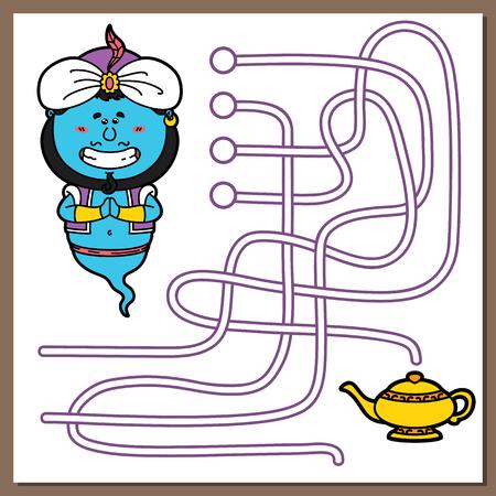 genie lamp: Genie game illustration of maze(labyrinth) game with cute Genie for children
