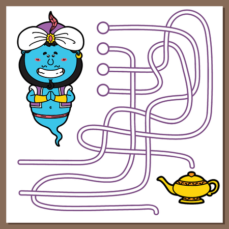 genio de la lampara: Ilustraci�n juego Genie de laberinto (laberinto) juego con Genie lindo para los ni�os