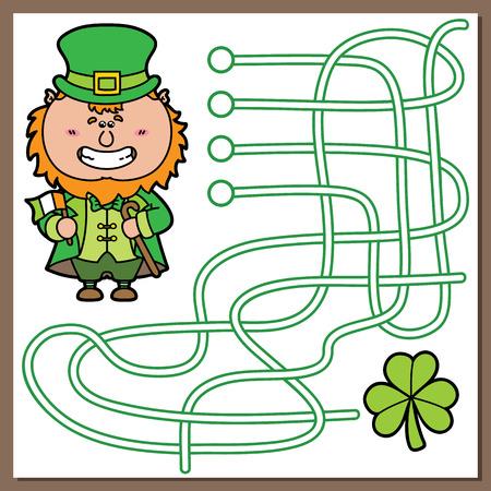 Leprechaun game illustration of maze(labyrinth) game with cute Leprechaun for children Illustration