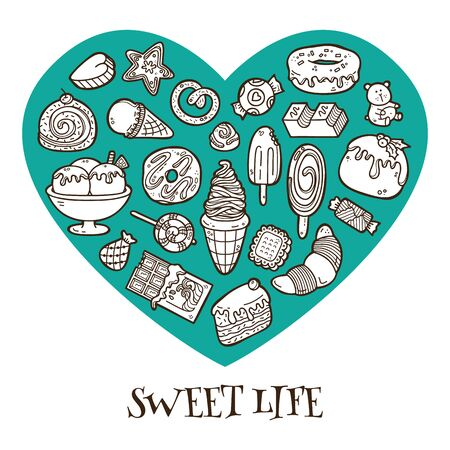 Sweet life heart made of different hand drawn sweets Vector