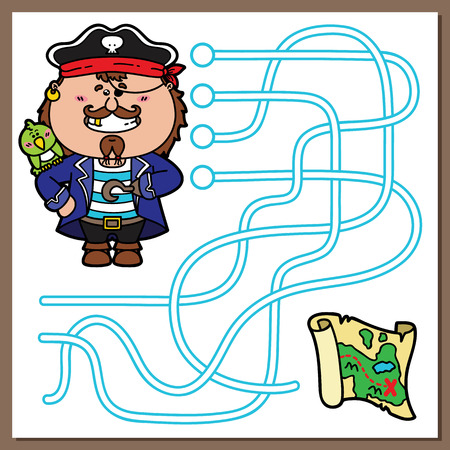 Pirate game. Vector illustration of maze(labyrinth) game with cute Pirate and treasure map for children Ilustrace