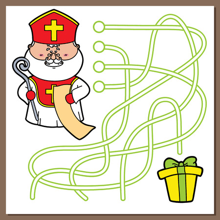 st  nicholas: St Nicholas game. Vector illustration of maze(labyrinth) game with cute St. Nicholas  for children