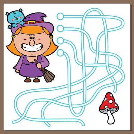 Witch game. Vector illustration of maze(labyrinth) game with cute Witch for children Vector