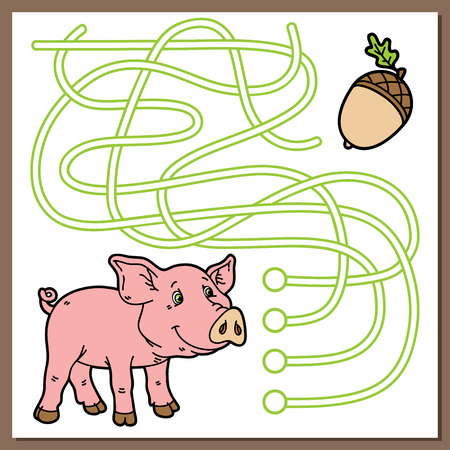 Piggy game. Vector illustration of maze(labyrinth) game with cute cartoon pig for children
