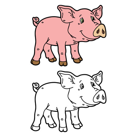 scrap book: funny piggy. Vector illustration coloring page of happy cartoon pig for children and scrap book