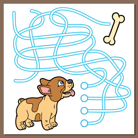 Puppy game. Vector illustration of maze(labyrinth) game with cute cartoon puppy for children