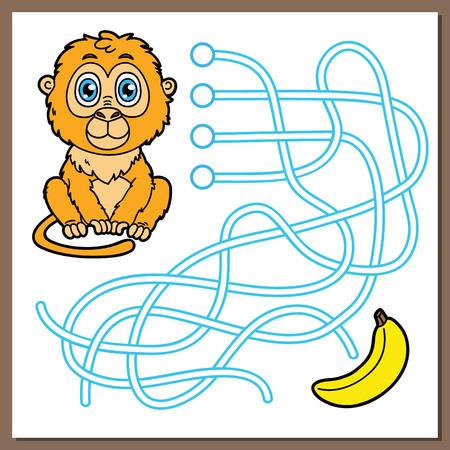 the maze: Juego del mono. Ilustraci�n vectorial de laberinto (laberinto) juego con el mono lindo de dibujos animados para los ni�os Vectores