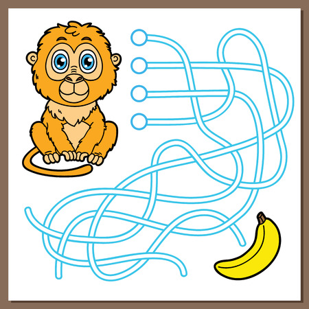 exercise book: Monkey game. Vector illustration of maze(labyrinth) game with cute cartoon monkey for children