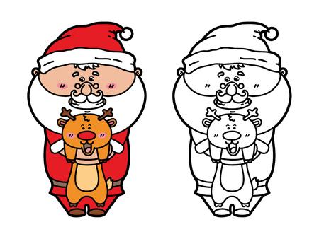 scrap book: funny Santa with deer. Vector illustration coloring page of happy cartoon Santa for children and scrap book