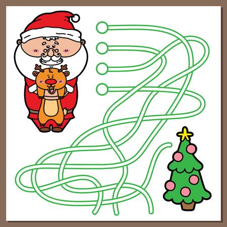 laberinto: Santa juego. Ilustraci�n vectorial de laberinto (laberinto) juego con dibujos animados lindo de Santa para los ni�os