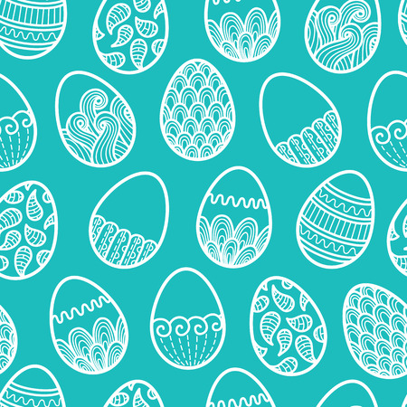 doodle Easter pattern. Vector seamless doodle easter pattern with Easter eggs Vector