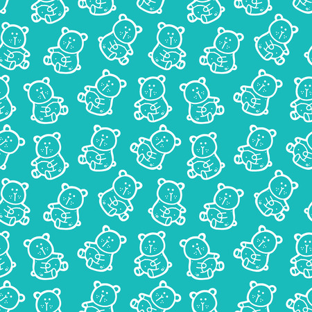 baby bears toys pattern. vector seamless pattern for baby shower with doodle bears Illustration