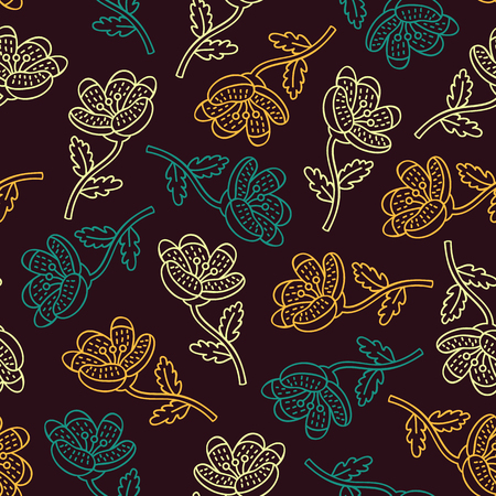 simple flower: cute floral pattern. Vector floral seamless pattern with hand drawn ornate flowers Illustration