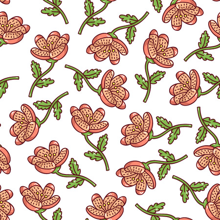 cute floral pattern. Vector floral seamless pattern with hand drawn ornate flowers Illustration