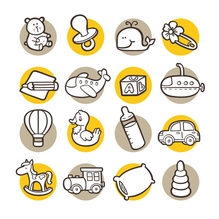 funny icons. vector doodle collection of hand drawn icons Vector