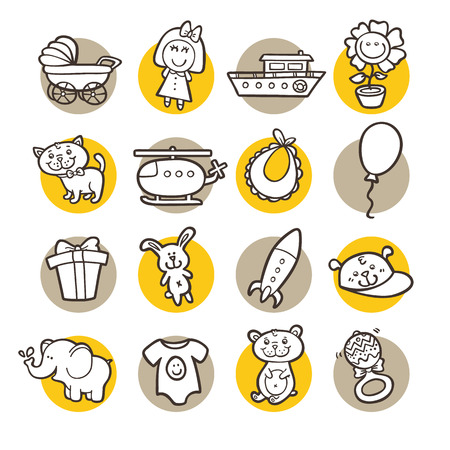 funny icons. vector doodle collection of hand drawn icons
