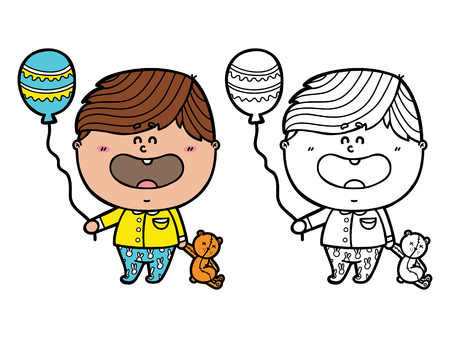 funny Boy. Vector illustration coloring page of happy cartoon friendly Baby boy holding a balloon and bear for children and scrap book