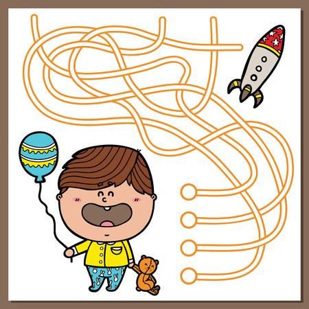 the maze: Juego de ni�o de beb�. Ilustraci�n vectorial de laberinto (laberinto) juego con el muchacho lindo y cohetes para ni�os