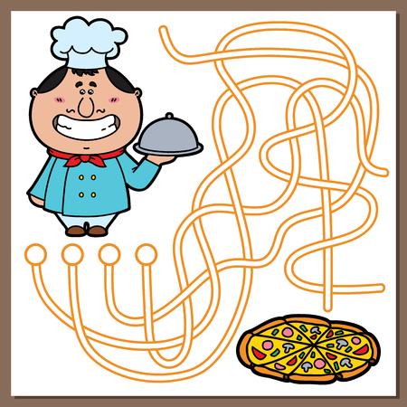 요리 게임. 어린이를위한 벡터 귀여운 요리사와 미로 (미로) 게임의 그림과 피자