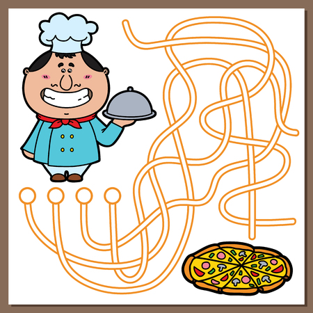 Cook game. Vector illustration of maze(labyrinth) game with cute Cook and pizza for children