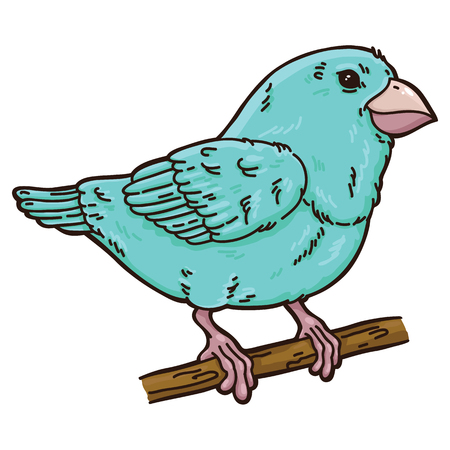 Cute bird. Vector illustration of cute cartoon bird which is sitting on a branch Illustration