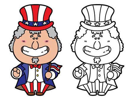 funny Uncle Sam. Vector illustration coloring page of happy cartoon Uncle Sam which is holding American flag for children and scrap book Vector