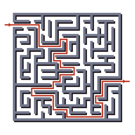 Maze labyrinth with answer. Vector illustration of simple labyrinth with some wrong ways and one exit