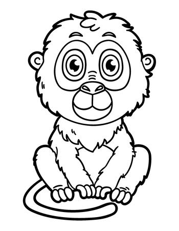 재미 원숭이. 어린이와 스크랩 책 행복 만화 원숭이의 벡터 그림 색칠 페이지