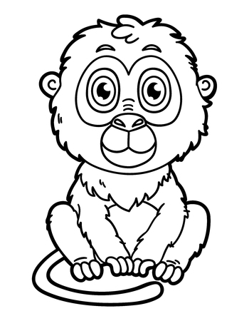 funny monkey. Vector illustration coloring page of happy cartoon monkey for children and scrap book Ilustrace