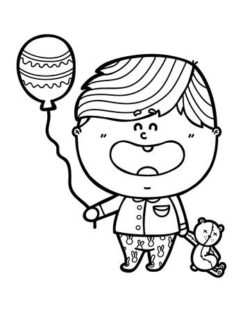 scrap book: funny Boy. Vector illustration coloring page of happy cartoon friendly Baby boy holding a balloon and bear for children and scrap book