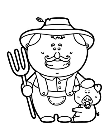 cartoon party: funny Farmer. Vector illustration coloring page of happy cartoon friendly Farmer holding a pitchfork for children and scrap book