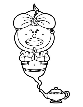 jinn: funny Genie. Vector illustration coloring page of happy cartoon Genie and his magic lamp for children and scrap book Illustration
