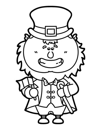 Vector Illustration Coloring Page Of Happy Cartoon Leprechaun Which Is Holding Irish Flag