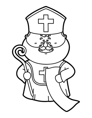nicholas: funny St. Nicholas. Vector illustration coloring page of funny St. Nicholas which is holding list for children and scrapbooking Illustration