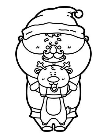 funny Santa with deer. Vector illustration coloring page of happy cartoon Santa for children and scrap book Vector
