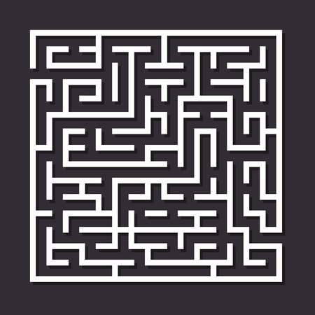 Maze paper labyrinth. Vector illustration of simple labyrinth with some wrong ways and one exit