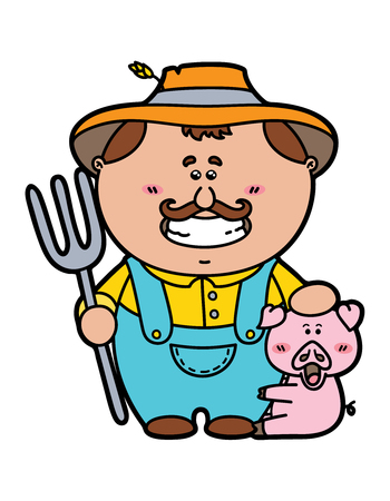 stereotypical: funny Farmer.vector illustration of friendly Farmer holding a pitchfork Illustration