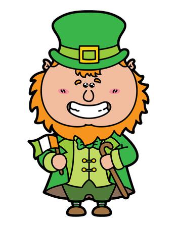 st patricks party: funny Leprechaun.vector illustration of kawaii Leprechaun which is holding irish flag Illustration
