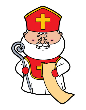 funny St. Nicholas. Vector Illustration of funny St. Nicholas which is holding a list Illustration