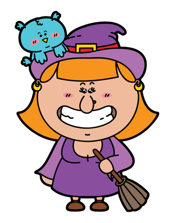 funny Witch. vector illustration of kawaii Witch with broomstick in hand and with an owl on her hat Vector