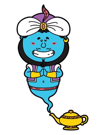 genio de la lampara: divertido Genie. ilustraci�n vectorial de kawaii Genie y su l�mpara m�gica.