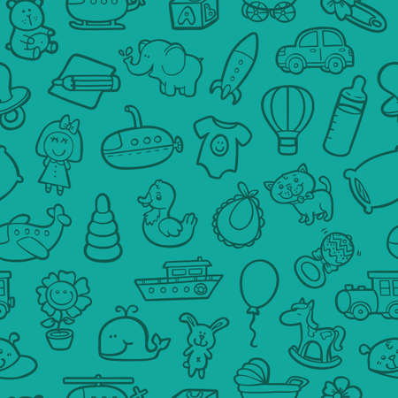 baby toys pattern. vector outline seamless pattern for with doodle toys Vector