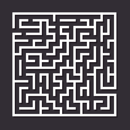 ways: Maze paper labyrinth. Vector illustration of simple labyrinth with some wrong ways and one exit