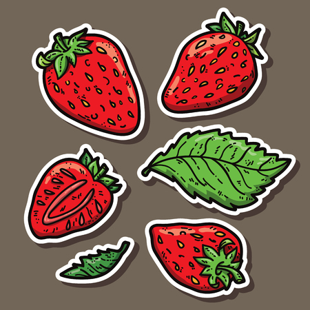 cute strawberries. Vector stickers set of cute hand drawn strawberry Vector