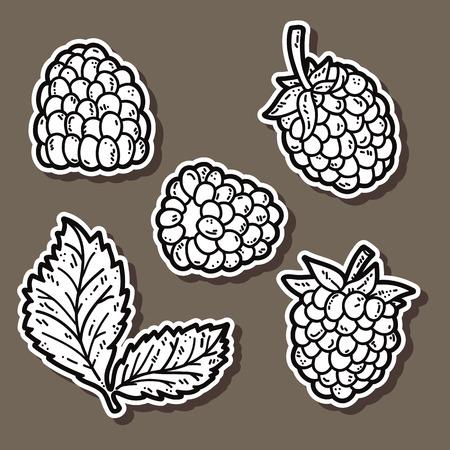 blackberries: cute blackberries. Vector stickers set of cute hand drawn blackberry