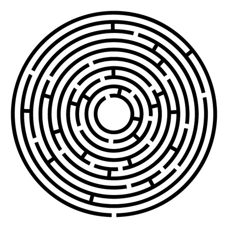 Maze labyrinth. Vector illustration of round labyrinth with some wrong ways Ilustração