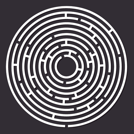 Maze paper labyrinth. Vector illustration of round labyrinth with some wrong ways Ilustrace