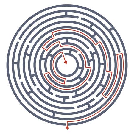 the maze: Laberinto laberinto con la respuesta. Ilustraci�n vectorial de laberinto redondo con algunos caminos equivocados Vectores