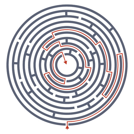 Maze labyrinth with answer. Vector illustration of round labyrinth with some wrong ways